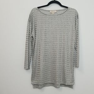 Philosophy Silver 3/4 Sleeve Blouse Size M NWT